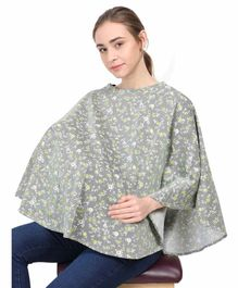 Grandma's Premium Cotton Striped Nursing Cover Floral Print - Green Black
