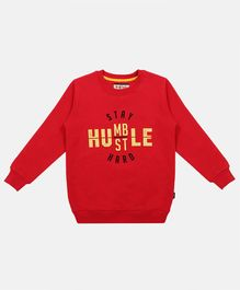 Li'L tomatoes Full Sleeves Quote Printed Sweatshirt - Red
