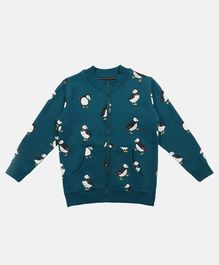 Li'L tomatoes Full Sleeves All Over Puffin Printed Jacket - Blue