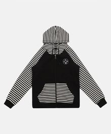 Li'L tomatoes Raglan Full Sleeves Striped Hooded Jacket - Black & White