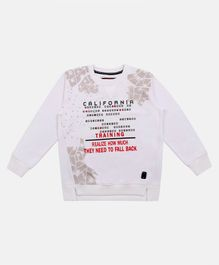 Li'L tomatoes Full Sleeves Letter Printed Sweatshirt - White