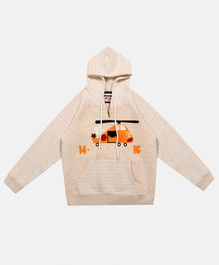 Li'L tomatoes Striped Full Sleeves Hoodie - Beige