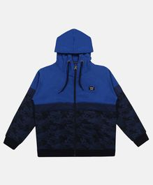 Li'L tomatoes Camouflage Print Full Sleeves Hooded Jacket - Navy Blue