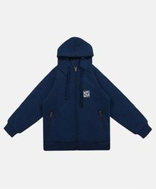 Li'L tomatoes Solid Full Sleeves Hooded Jacket - Navy Blue