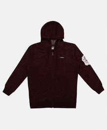 Li'L tomatoes Patch Detailed Full Sleeves Hooded Jacket - Maroon