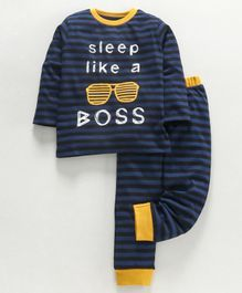 Ventra Quote Printed Full Sleeves Striped Night Suit - Navy Blue