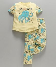 Ventra Half Sleeves Octopus Printed Night Suit - Yellow