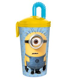 Minions Tumbler With Straw Blue & Yellow - 450 ml