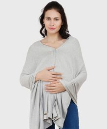 Pluchi Solid Full Sleeves Maternity Poncho Style Top - Grey