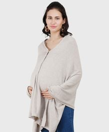 Pluchi Solid Full Sleeves Maternity Poncho Style Top - Vanilla Grey