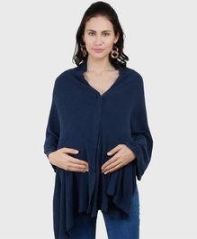 Pluchi Solid Full Sleeves Maternity Poncho Style Top - Navy Blue