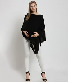 Pluchi Full Sleeves Solid Rosette Maternity Poncho Style Top - Black