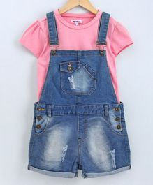 Natilene Short Sleeves Top With Shaded Dungaree - Blue & Pink