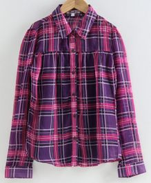 Natilene Checkered Full Sleeves Shirt - Pink