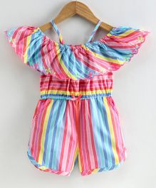 Nauti Nati Short Sleeves Cold Shoulder Striped Jumpsuit - Multi Colour