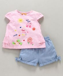 Nauti Nati Cap Sleeves Sunny Day Theme Top With Shorts - Pink Blue