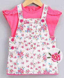 Nauti Nati Cap Sleeves Ruffle Detail Top With Floral Print Dungaree - White Pink