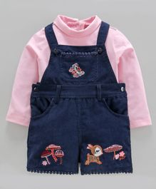 Nauti Nati Full Sleeves Top With Mushroom Patch Dungaree - Pink Blue