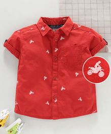 Under Fourteen Only Half Sleeves Man Riding Bike Printed Shirt - Red