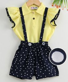 M'andy Short Sleeves Top With Polka Dot Print Suspender Shorts - Dark Yellow & Navy Blue