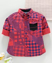 Under Fourteen Only Checkered Full Sleeves Shirt - Red