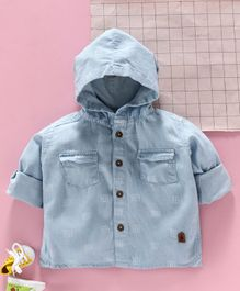 Under Fourteen Only Printed Full Sleeves Hooded Shirt - Blue