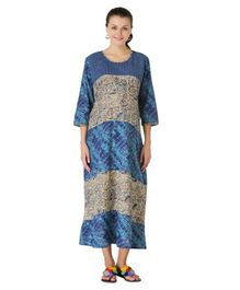Morph Printed Three Fourth Sleeves Maternity Maxi  - Blue