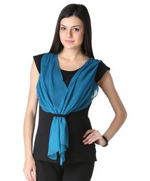 Morph Maternity Cap Sleeves Solid Contrast Scarf Attached Top - Black