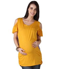 Morph Maternity Short Sleeves Cold Shoulder Solid Top - Yellow