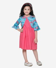 Lilpicks Couture Dress With Half Sleeves Flower Print Shrug - Pink