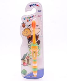 Toothbrush With Ultra Soft Bristles Bee Design - Orange Red