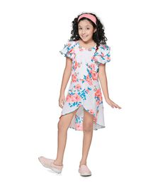Cutiekins Rose Flower Print Cap Sleeves Dress - White