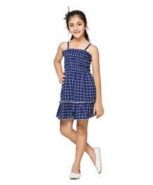 Cutiekins Checked Sleeveless Mini Flare Dress - Blue