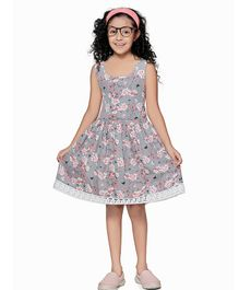 Cutiekins Back Bow Tie Floral Printed Mini Sleeveless Dress - Grey