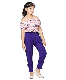 Cutiekins Off Shoulder Half Sleeves Flower Printed Top With Solid Pants - Pink & Blue