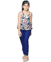 Cutiekins Butterfly Printed Peplum Sleeveless Top With Pants  - White & Blue