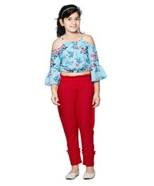 Cutiekins Floral Printed Cold Shoulder Three Fourth Sleeves Top With Pants - Blue & Red