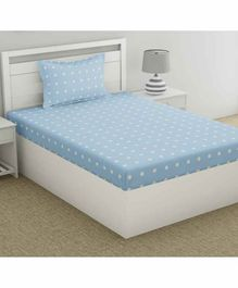 haus & kinder Fantasy 100% Cotton Single Bedsheet With 1 Pillow Cover Polka Dot Print - Blue