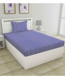 haus & kinder Candy Stripes 100% Cotton Single Bedsheet With 1 Pillow Cover - Blue