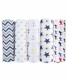 haus & kinder 100% Cotton Muslin Swaddle Wrap Pack of 5 - Blue & White