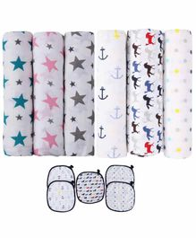 haus & kinder Muslin Swaddle Wrappers & Wash Cloths Printed Pack of 11 - White