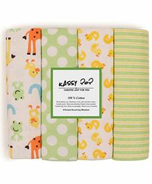 Kassy Pop 100% Cotton Flannel Receiving Blankets Pack of 4 - Multicolor