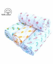 Rio Cotton Swaddle Wrapper Toffee Print Pack of 4 - Multicolor