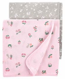 Carter's Baby Blanket Pack of 2 - Pink Grey