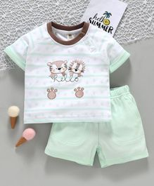 ToffyHouse Half Sleeves Tee and Shorts Set Vehicle Patch - White Green