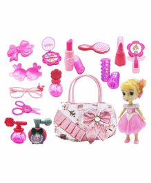 Emob Fashionable Doll Toy with Bag & Makeup Accessories Pack of 13 - Pink
