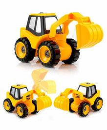 Crackles DIY Take-Apart Assembly Construction Excavator Vehicle with Safe Screw Driver - Yellow