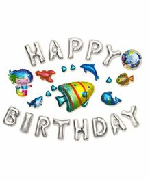 Vibgyor Vibes Metallic Happy Birthday Foil Balloons Banner Aquatic Theme - Pack of 26 Pieces