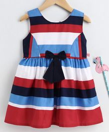 Twetoons Sleeveless Striped Frock Bow Applique - Multicolor