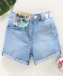 Little Kangaroos Denim Shorts with Belt & Transparent Bag Text Embroidery - Blue